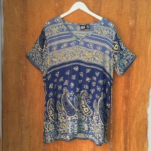 Vintage Bila Rayon Paisley Blouse / Boho Bohemian